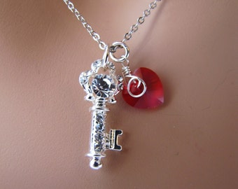 A key to her heart necklace - Red heart