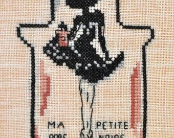 Cross stitch Embroidery - scored LBD Guerlain frame