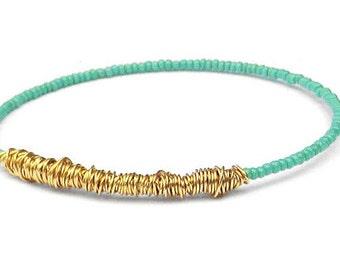 Bangle Bracelet // Turquoise Gold Beaded Bracelet // Eco-Friendly Jewelry // Friendship Bracelet // Bridesmaid Gift // Recycle Jewelry Gift