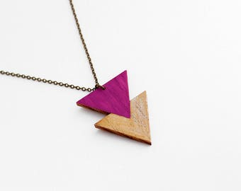 Geometric, double triangle wooden necklace - minimalist, modern jewelry - magenta / violet, gold - gif for her - birthday gift for women