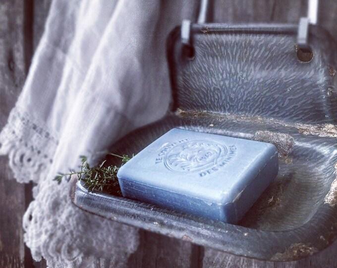 Antique Enamel Soapdish Soap Holder Gray Enamel