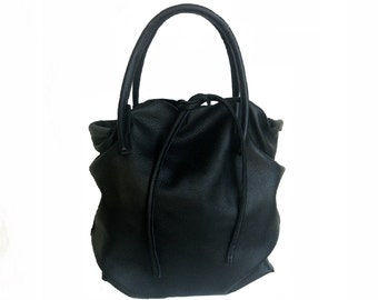 Black leather bag Case handmade