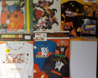 Lot of 5 Halloween No-Sew Fabric Applique and Iron-On Transfers Daisy Kingdom, Plaid Ragamuffins, Dimensions