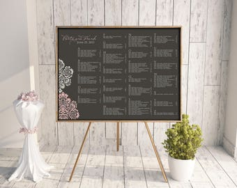 Wedding Seating Chart (Romantique) - Digital File, DIY, Printable, pdf, Damask, Gray and Pink, Dusty Pink, Calligraphy, Traditional, Rush