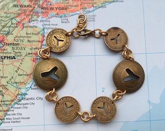 New York City subway token coin bracelet - made of original tokens - NYC - transit