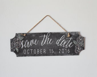 "Handwritten Chalkboard Sign for Wedding & Engagement - ""Save The Date"""