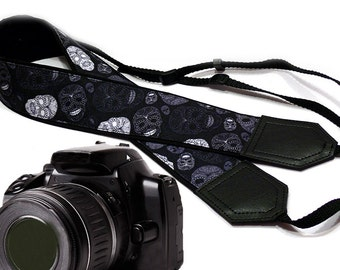 Sugar skulls camera strap. Halloween camera strap. Dark DSLR / SLR Camera Strap. Handmade crafts from InTePro