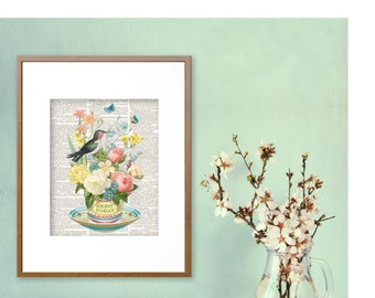 Teacups, Bird, Hummingbirds, Teacup Art, Teacup Prints, Vintage Teacups, Floral Prints,  Kitchen Prints, Digital Prints, Flower prints