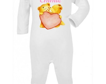 Pajamas baby Teddy bear and heart personalized with name