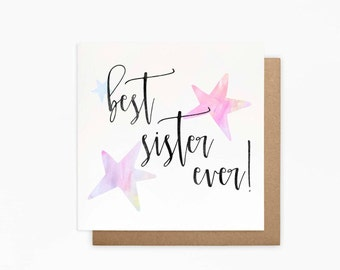 Best Sister Card - Sister Card - Blank Card - Sister Birthday Card