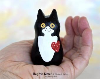 Handmade Kitty Cat Figurine, Black White Tuxedo, Red, Blue, Miniature Sculpture, Hug Me Kitten, Animal Totem Charm Figure, Personalized Tag