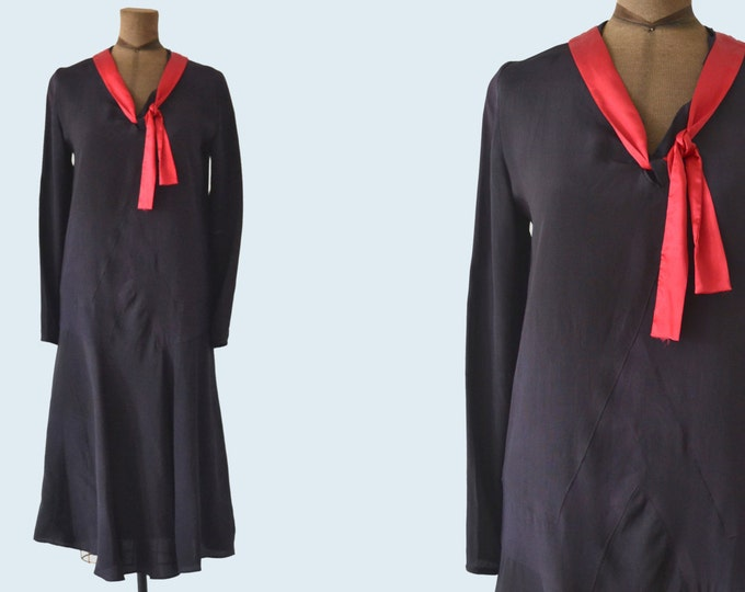 1920s Black and Red Flapper Dress size S