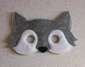 Wolf felt mask - Kids dress up - Children animal mask - Party favor - Christmas party costume - Pretend play