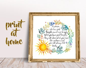 Motivational Quote, Watercolor Print, Instant Download, wall art, watercolor art, dorm decor, wall decor, nursery decor, happy quote, sun