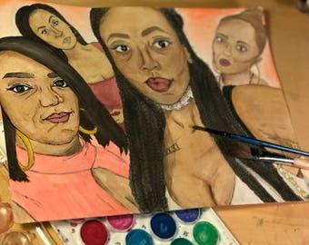 Watercolor Group Selfie Portrait