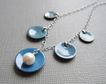 Ombre Dusk Blue Enamel Necklace White Pearl Sterling Silver