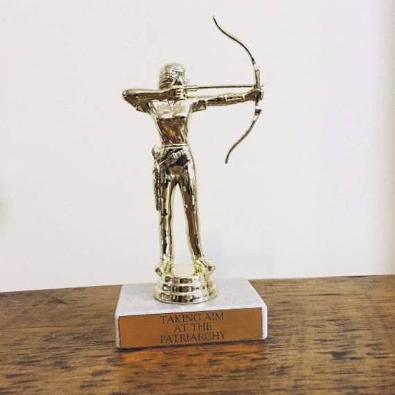 Taking Aim At The Patriarchy Trophy With Real Italian Marble Gold Feminist Feminism Liberal Archery Smash Award Prize