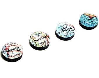 Set of Four. Custom Map Magnets. You Pick Any Cities, States, or Countries Worldwide. Super Strong Magnets. Glass Magnet. Kitchen Magnets.