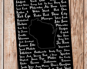 Printable Wisconsin Breweries Sign - 12x18 | Wisconsin Beers Sign | Wisconsin Poster | Craft Beer Gifts | Beer Gifts | Beer Poster