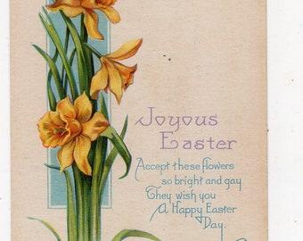 Easter vintage postcard, Easter daffodils vintage postcard, Joyous Easter