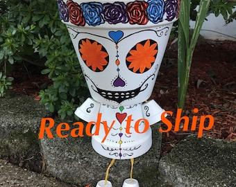 Sugar Skull Outdoor Halloween Decoration, Handmade Day of the Dead Candy Skull Halloween Porch Decor, Skull Pot Person