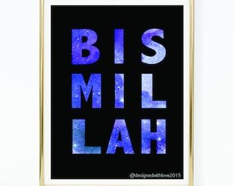 A4 Digital Print - Bismillah - Galaxy Text