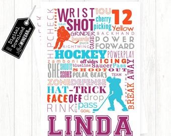 Ice Hockey Subway Art Female Player Word Art | Hockey Word Poster | Personalized Digital Download 4x6, 5x7, 8x10 or 12x18 JPG