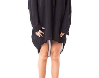 Chiffon black shirt/ Oversize shirt/ Assymetric tunic/ Extravagant shirt/ Loose shirt/ Plus size tunic