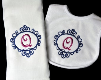 Framed Fancy Monogram Baby Burp Cloth and Bib Combo Set