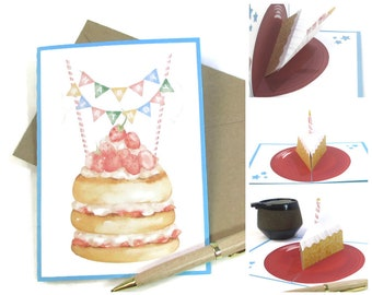 Birthday Pop Up Card, Pop Up Cards Birthday, Slice of Cake Birthday Card, Birthday Card Best Friend, Happy Birthday Card, Unisex Theme