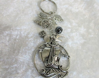 """Sail boat keychain, sailing ship keyring, pirate ship keychain, zinc alloy pewter beads, 4"""" sailboat keychain with dangle carms,11-S"""