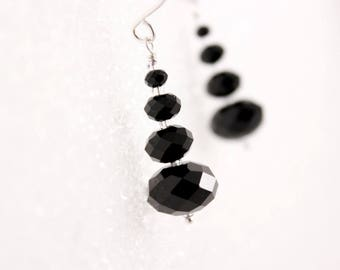 Jet Black Crystal Earrings, Swarovski Rondelles, Stacked, Dangle