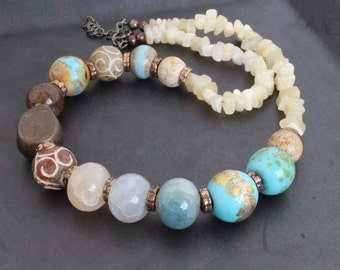 Artisan lampwork and gemstone beads necklace/  Beige and blue - Sand and sea