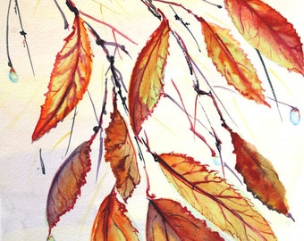Autumn leaves watercolor painting 8 x 10 in art Original watercolor painting Nature painting Leaf painting Original art Autumn painting