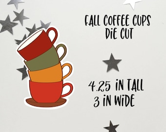 Fall Coffee Cups Stack Die Cut | Fall Coffee | Coffee Cups Die Cut | Planner decoration | Planner Die Cuts |  |TN | Travelers Notebook