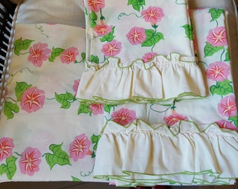 Vintage Sheet Set, Pink Morning Glories on Vine, Fitted & Flat, Pillowcase, Full Size, Floral
