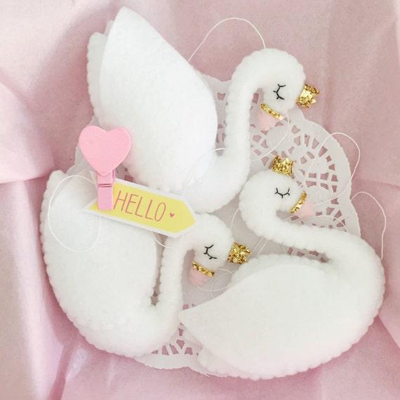 Plush Swan Felt Swan Princess With Crown Garland Swan Baby