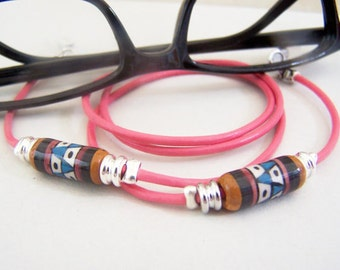 Cord for Glasses, Ceramic Bead on 2mm, Pink, Black Or Tan Leather Cord,  Eyeglass Holder, Eyeglass Necklace Chain By Eyewearglamour