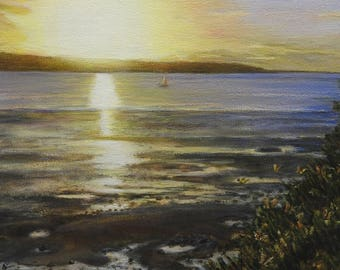 Sunset with the butterflies (english seascape) by T.Wilson. (Sold)