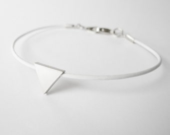 Delicate white leather geometric bracelet with silver triangle