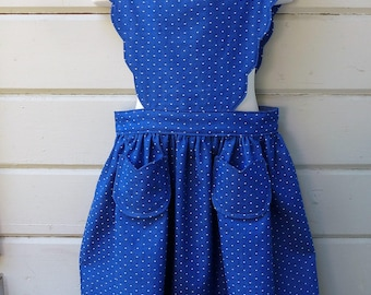Vintage 1944 Girls Scalloped Pinafore for Back to School 2017 One of a Kind Ready to Ship in Girls Size 6