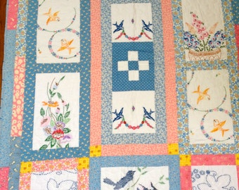 Vintage Embroidery Lap Quilt--- Free Shipping