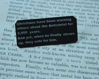 Anti Trump lapel pin Voting for the Antichrist