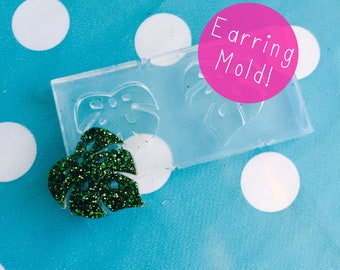Banana Leaf Earring Mold with holes - Silicone Resin Mould Stud Shape Tropical