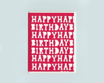 Kentile Floors Birthday cut-out card- papercut collage card