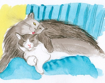 cats print, couple cats print, download