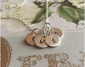 Silver Initial Necklace - Stamped Initials on Tiny Discs - Four Initial Necklace - 4 Children Initials - Personalized Christmas Gift for Mom