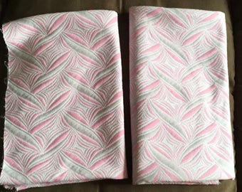 3 Pink and Blue vintage fabric panels.