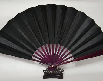 Hand Fan Folding Fan, Large Silk Cloth Black base Brown bamboo Kimono Sensu, wedding fan