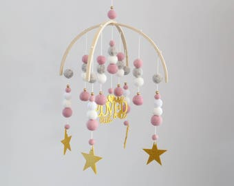 Acrylic Glitter Mobile - Dusty Pink, White, Pebbles, Gold, stars/you are loved little one